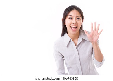 happy woman showing her palm or 5 fingers gesture