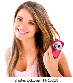 Happy woman with a small digital camera - isolated over white