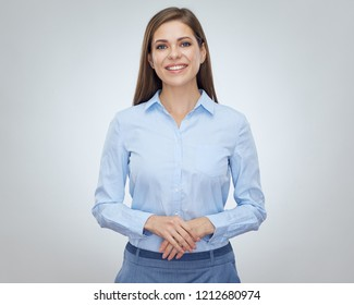 Happy woman with toothy smile and positive emotion. Isolated portrait.