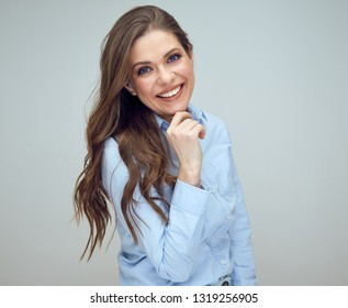 39d1e666c30 happy woman touching her chin. isolated studio portrait.