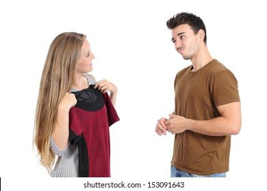 Happy woman trying clothes shopping with her boyfriend and asking for advice isolated on a white background