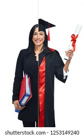 Happy woman in two occupations of accountant and university graduate isolated on white background. Student graduate, wearing mantle and holding diploma accountant holding document folders in hand.
