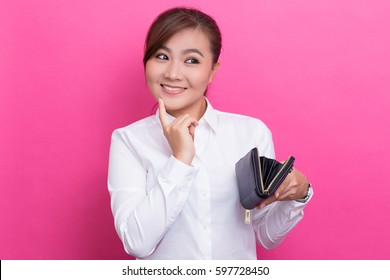 Happy woman with wallet