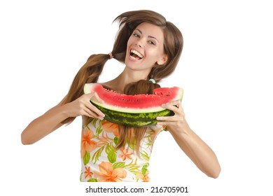 Happy woman with watermelon in hands. Isolated on white