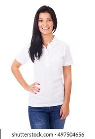 Happy woman in white polo shirt on a white background