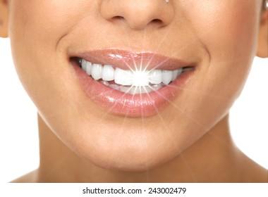 Happy woman white shining teeth. Dental care.
