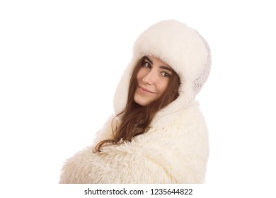 happy woman in winter hat and fur isolated on white background