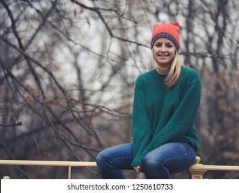 Happy woman at wintertime.