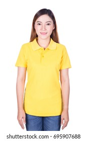 happy woman in yellow polo shirt isolated on white background