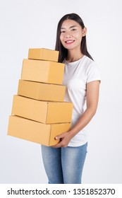 Happy women from ordering products from customers, business owners who work at home on a white background. Online shopping business operators Independent work concept