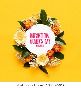Happy Women's Day Background. Floral flat lay greeting card template with beautiful various flowers.