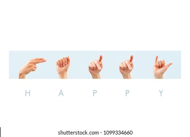 Happy word in american sign language for deaf mute people.