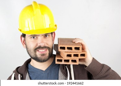 happy worker building