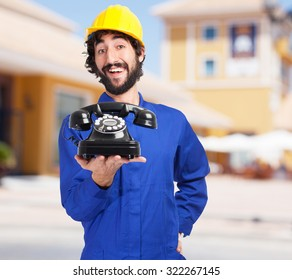 happy worker man with telephone