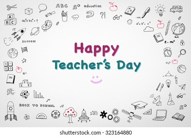 Happy World Teacheru0027s Day Concept With Doodle On White Watercolor Paper