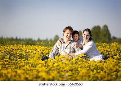 happy yong family having fun in the field of dandelions