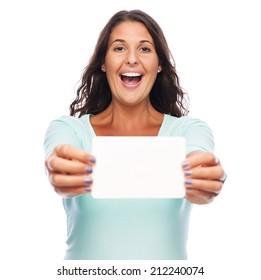 Happy Young amazed female holding blank card
