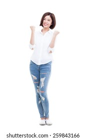 happy young Asian woman hands up isolated on isolated on white background.