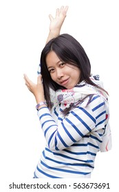 Happy young asian woman hands up isolated on white