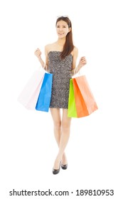 happy young  asian woman with shopping bags