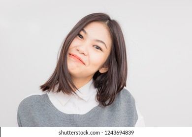 Happy young beautiful Asia business women short hair smiling on white background