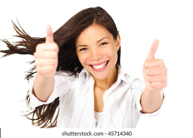 Happy young beautiful woman doing thumbs up. Mixed race asian / caucasian person, isolated on white background.