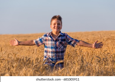 Happy young boy running on ripe wheat field at sunny day