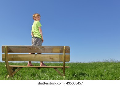 Happy young boy standing on a bench in summer