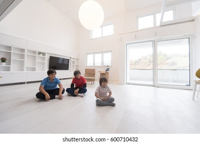 happy young boys having fun on the floor in a new modern home