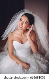 happy young bride getting ready, wedding photo