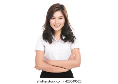 Happy young business asian woman with blank copy space area for text or slogan,Closeup portrait of beautiful Asian woman,Thai girl,Positive human emotion facial expression,isolated on white background