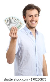 Happy young business man holding dollar banknotes isolated on a white background