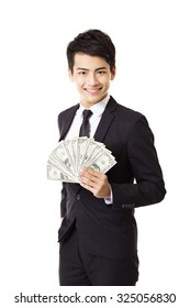happy young business man holding money
