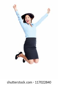 Happy young business woman isolated on white background.