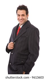 happy and young businessman on white background