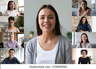 Happy young Caucasian female engaged in online training or course with multiracial women, smiling diverse girlfriends colleagues have fun talking on video call from home, webcam conference concept