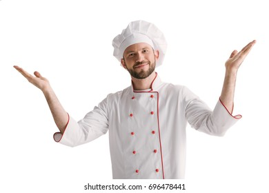 happy young chef with raised hands isolated on white