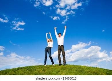 Happy young couple enjoying summer