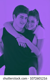 happy young couple fitness workout and fun at sport gym club duo tone