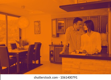 happy young couple have fun in modern wooden  kitchen indoor while preparing fresh food duo tone