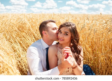 Happy young couple in love outdoor.