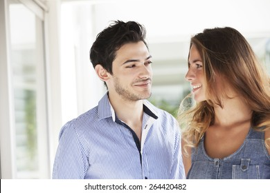 Happy young couple outdoors