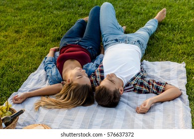 Happy young couple in the park relaxing after the picnic