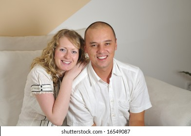 happy young couple smilling