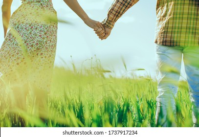 Happy young couple walking on wheat field. Young couple holding hands in the wheat field on sunny summer day. Love concept photo. People. Vacation. Travel concept. Sunset. Sunlight. Nature.