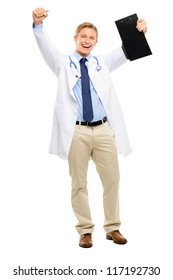 Happy young Doctor celebrating success isolated on white background