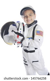 """A happy young elementary """"astronaut""""  happily holding his helmet while wearing his space suit.  On a white background."""