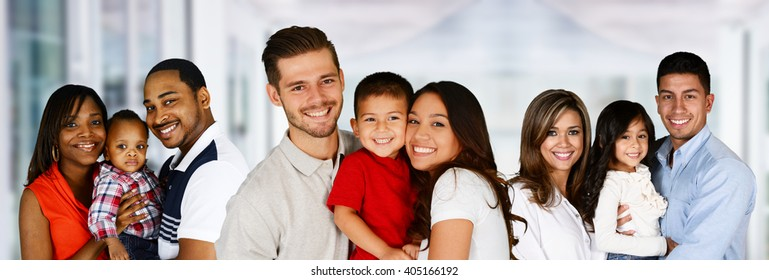 Happy Young Families Together In A Group