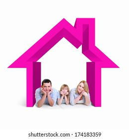 Happy young family with children in house
