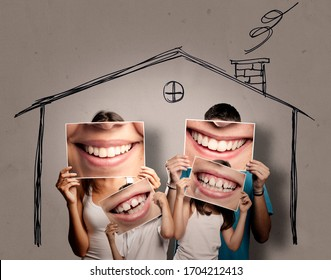 happy young family with children staying home. Confinement concept.